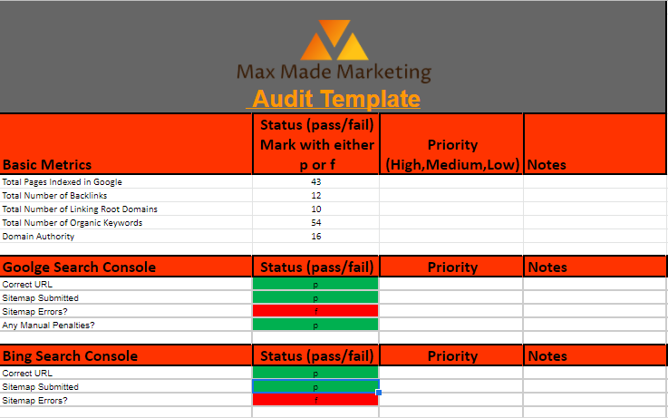 SEO audit template checklist